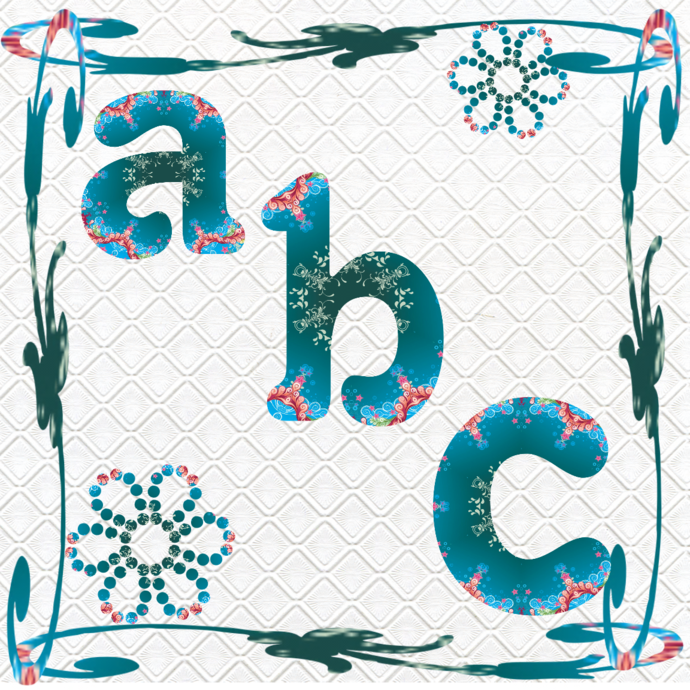ABC 49a-Digital ClipArt-Fonts-Art Clip-Flower-Gift