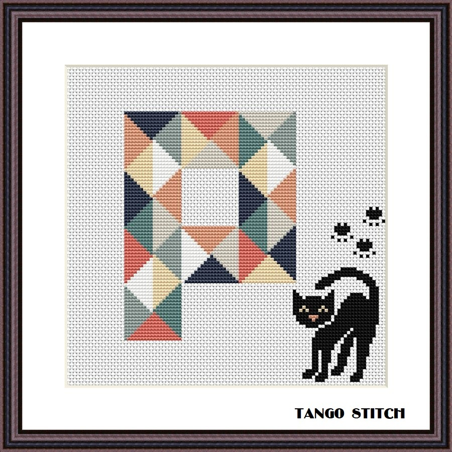 Letter P and cute black cat geometric lettering cross stitch pattern, Tango