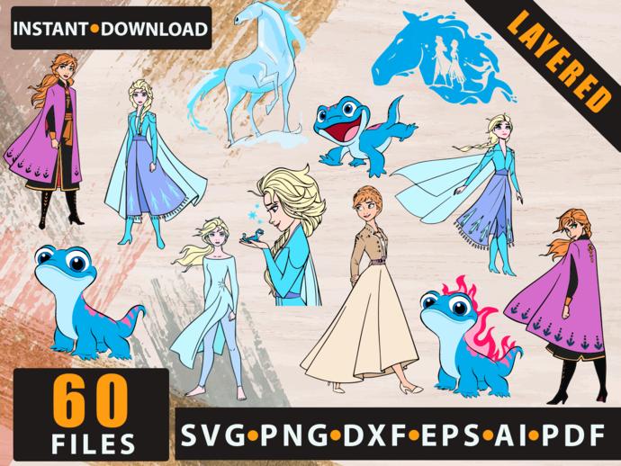 Frozen Elsa Anna Olaf SVG Bundle, Elsa SVG, Anna SVG, Olaf svg, Disney Frozen 2