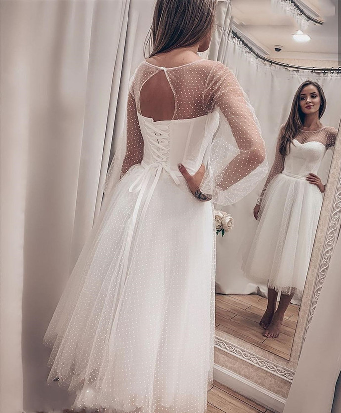 White Lace Tulle Tea Length Wedding Party Dress, Short Cute Prom Dress