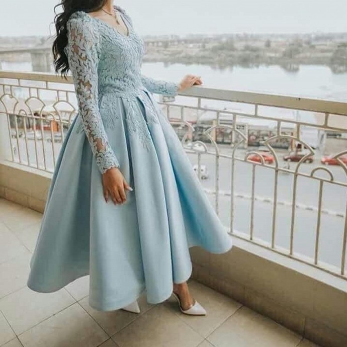 Blue Satin and Lace Long Sleeves Tea Length Party Dress, Blue Short Prom Dress