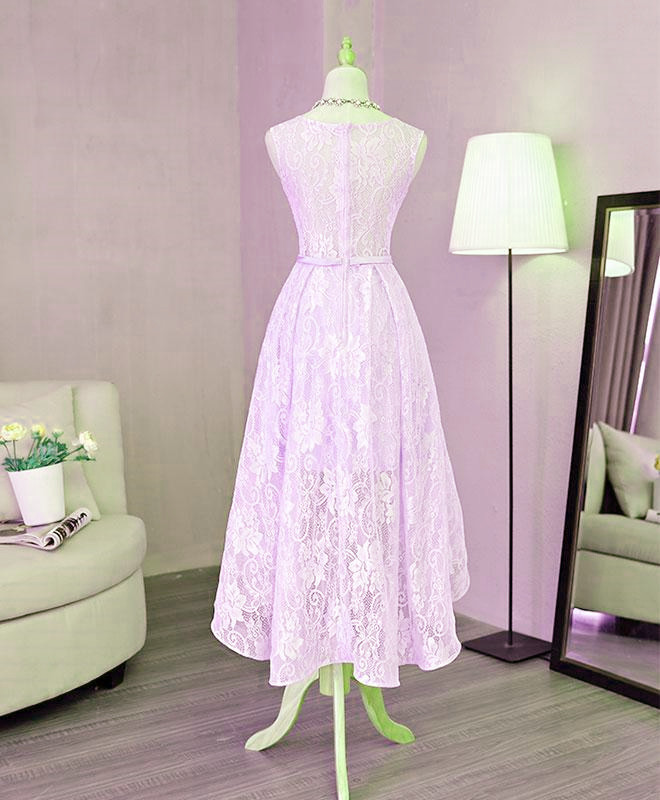 Lavender Lace Cute High Low Party Dress with Bow, Light Purple Bridesmaid Dress
