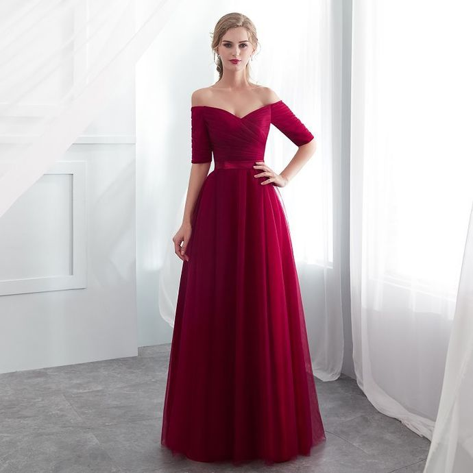 Wine Red Tulle Sweetheart Simple Long Prom Dress, Off Shoulder Tulle Bridesmaid