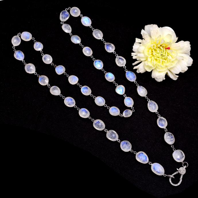 925 Silver Moonstone Chain,Pave Diamond Clasp,Rainbow Moonstone and Pave Diamond