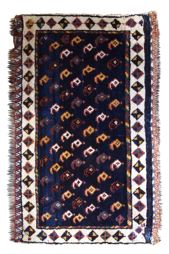 Handmade antique Persian collectible Luri bagface 1.9' x 3' ( 58cm x 91cm) 1890s