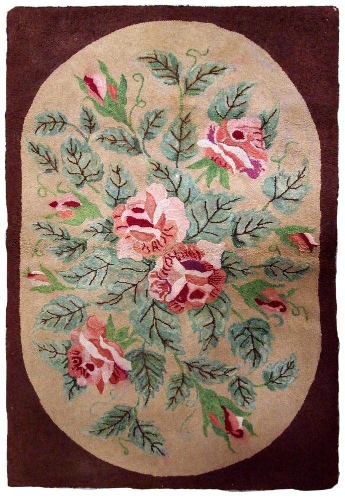 Handmade antique American Hooked rug 2.7' x 4.4' ( 82cm x 134cm ) 1900s - 1B647