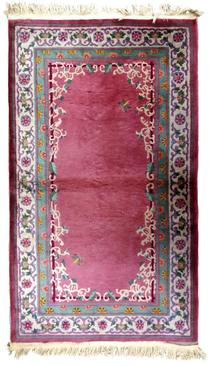 Handmade antique Art Deco Chinese rug 2.10' x 5.10' ( 89cm x 180cm ) 1930s -