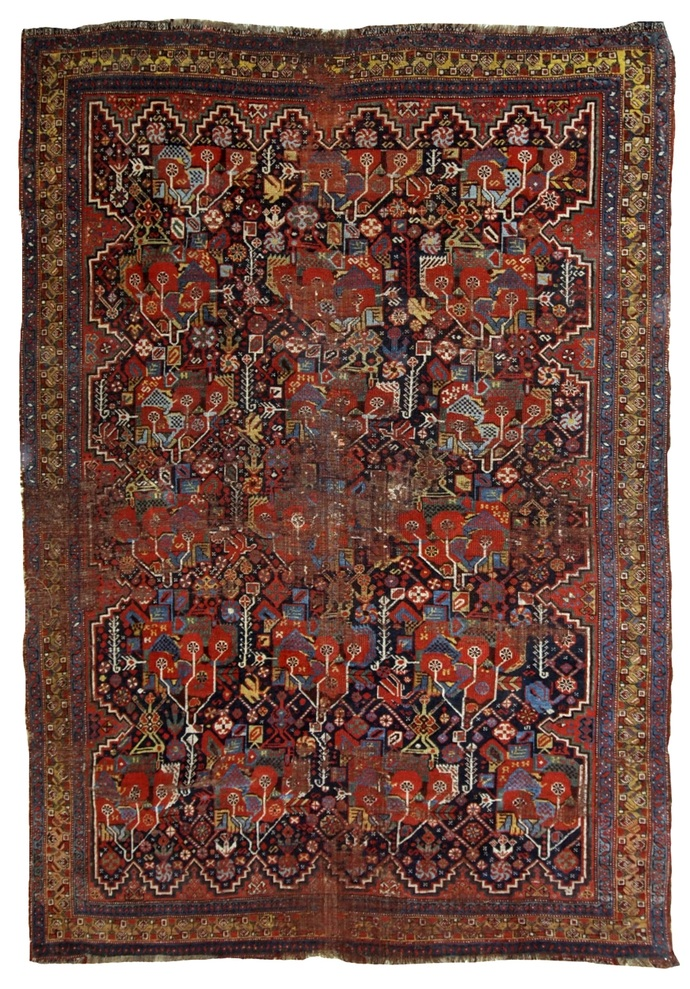 Handmade antique collectible Persian Khamseh rug 4.9' x 6.4' ( 149cm x 195cm )