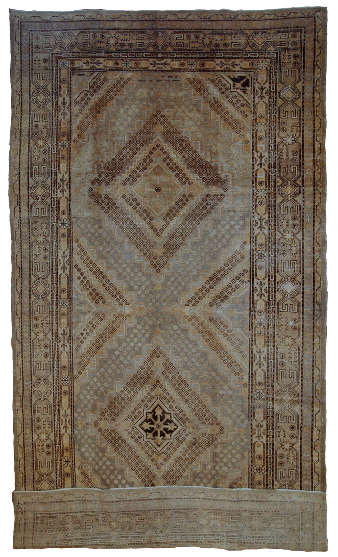 Handmade antique East Turkestan Khotan rug 6.1' x 11.9' ( 186cm x 362cm ) 1900s