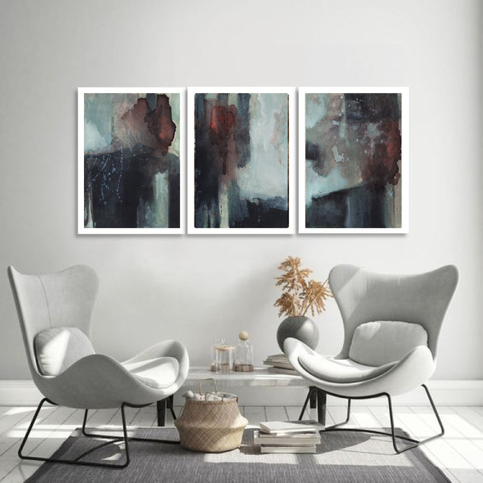Triptych Wall Art, Set of 3 Prints, Digital Download, Modern Poster, Abstract