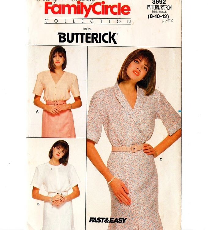 Butterick 3692 Misses Blouse 80s Vintage Sewing Pattern Size 8, 10, 12 Uncut