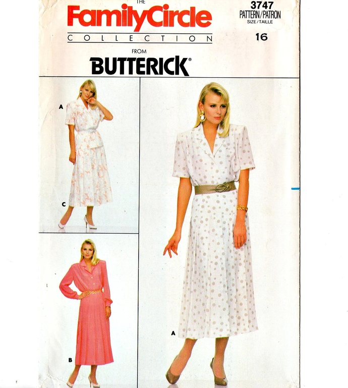 Butterick 3747 Misses Shirt, Yoked Pleated Skirt 80s Vintage Sewing Pattern