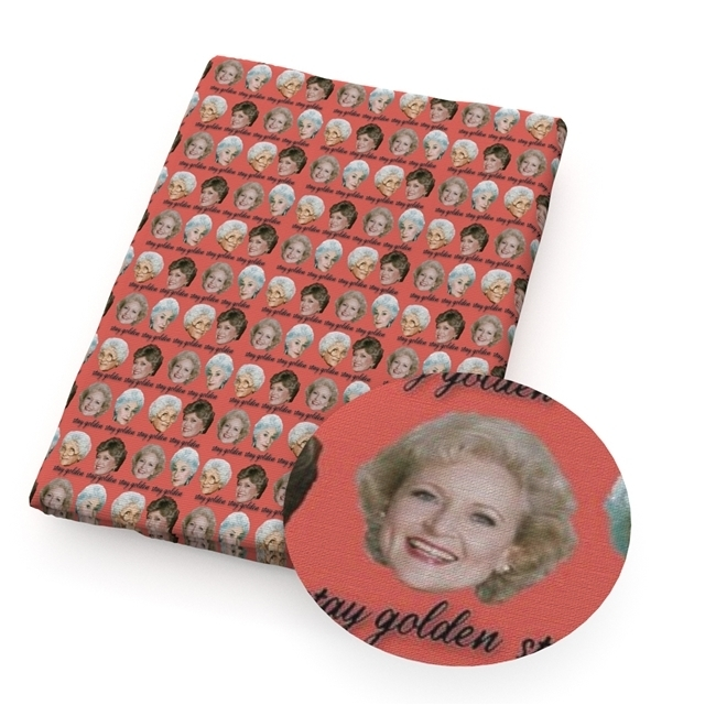 golden ladies in red  poliester and cotton fabric  (a half of a yard)