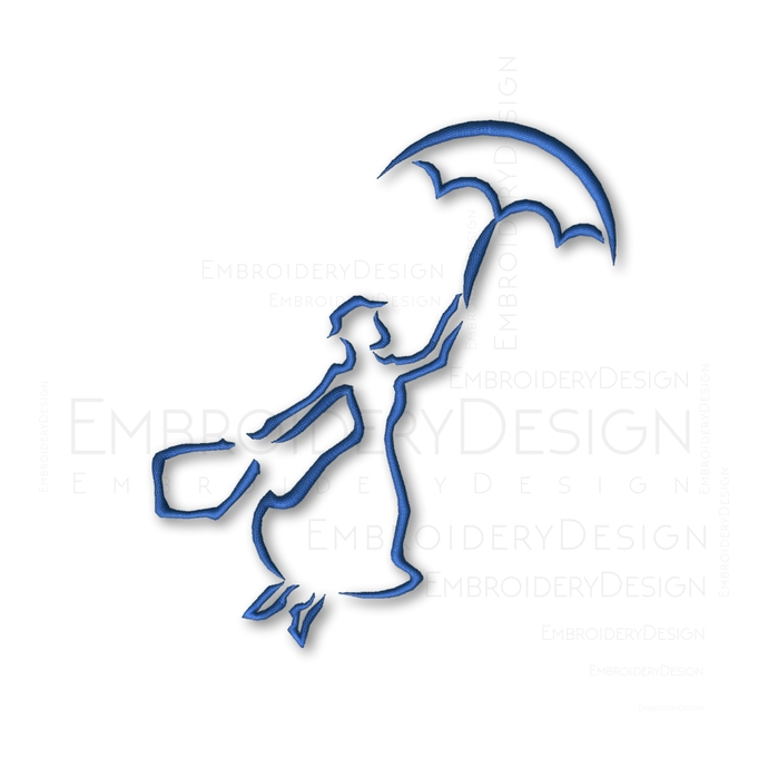Mary Poppins Sketch disney Embroidery Machine Designs Instant Digital Download