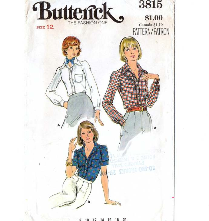 Butterick 3815 Misses Shirt, Blouse 60s Vintage Sewing Pattern Uncut Size 12