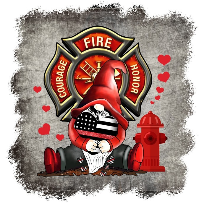 Gnome Red Lives Matter, Fireman, Fire Station, the thin line officers walk daily