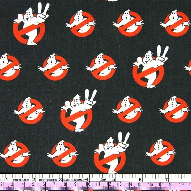 ghostbusters black poliester and cotton fabric  (a half of a yard)