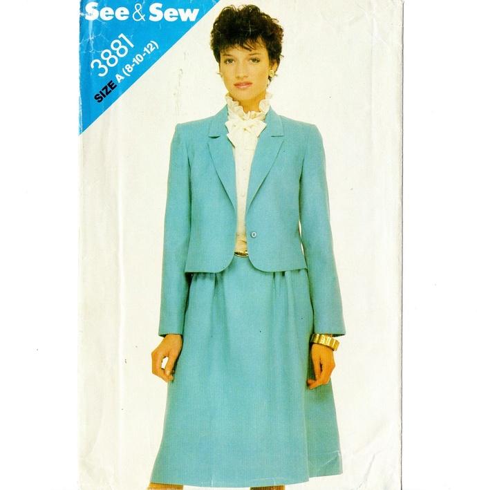 Butterick 3881 Misses Suit - Jacket, Skirt 80s Vintage Sewing Pattern UNCUT Size