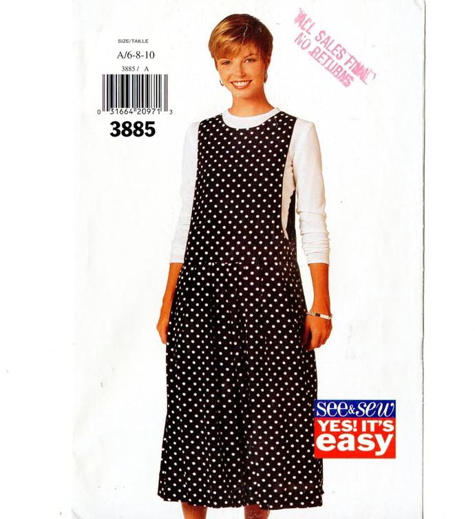 Butterick 3885 Misses Easy Jumper 90s Vintage Sewing Pattern Size 6, 8, 10