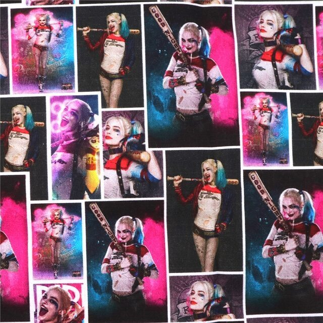 harley quinn poliester and cotton fabric  (a half of a yard)