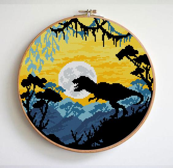 Dinosaur cross stitch pattern landscape cross stitch pattern Easy cross stitch