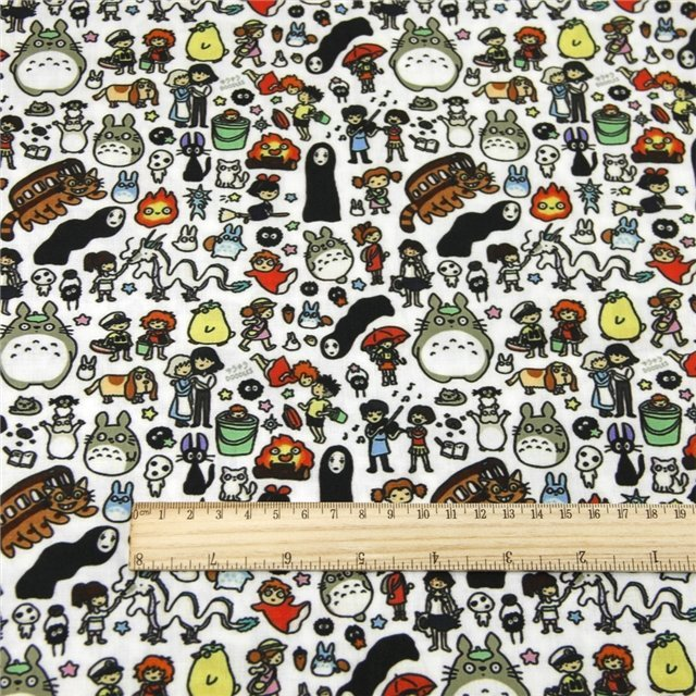 totoro  poliester and cotton fabric  (a half of a yard)