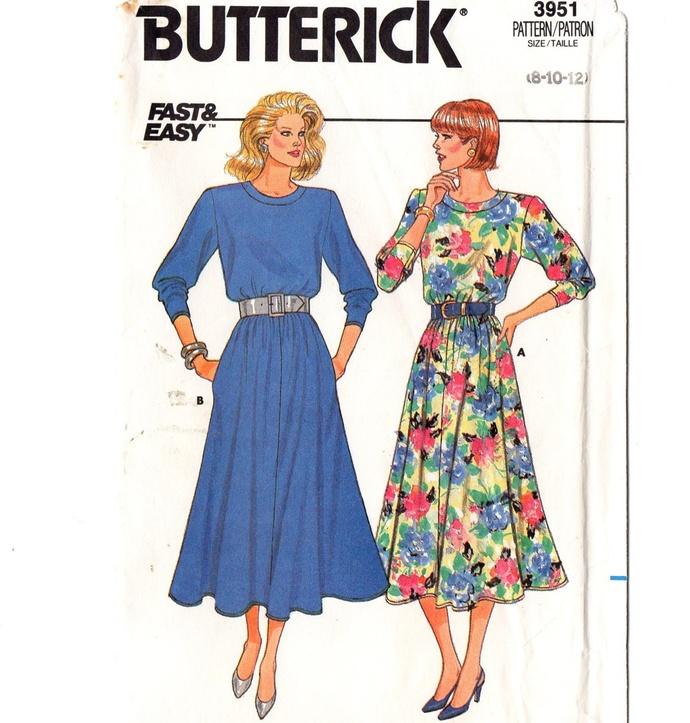 Butterick 3951 Misses Dress 80s Vintage Sewing Pattern Uncut Size 8, 10, 12 Bust