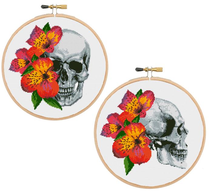 Set of 2 floral anatomical skull cross stitch pattern anatomy cross stitch
