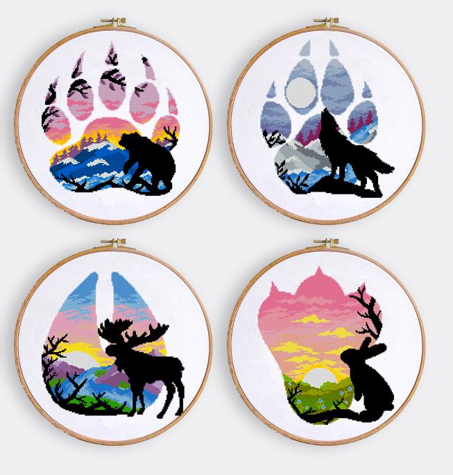 Animal cross stitch patterns set nature landscape cross stitch chart rabbit