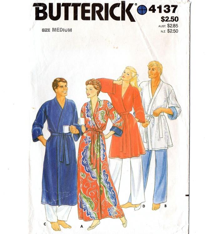 Butterick 4137 Men, Misses Wrap Robe 80s Vintage Sewing Pattern Size Medium 38,