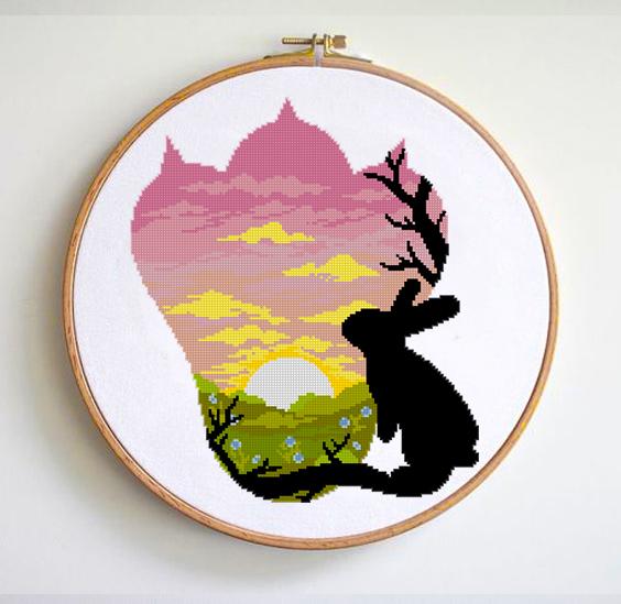 Rabbit cross stitch pattern nature cross stitch chart animal cross stitch