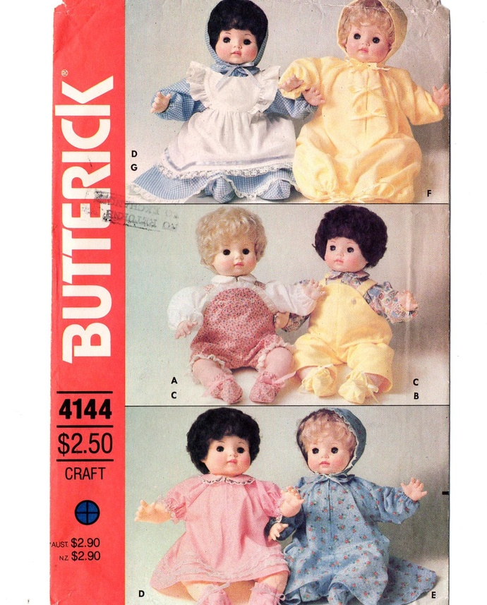 Butterick 4144 Baby Doll Clothes Vintage Sewing Pattern 16 Inch Uncut Bunting,