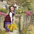 Girl Bringing Home Spring Mimosas Digital Collage Greeting Card1093