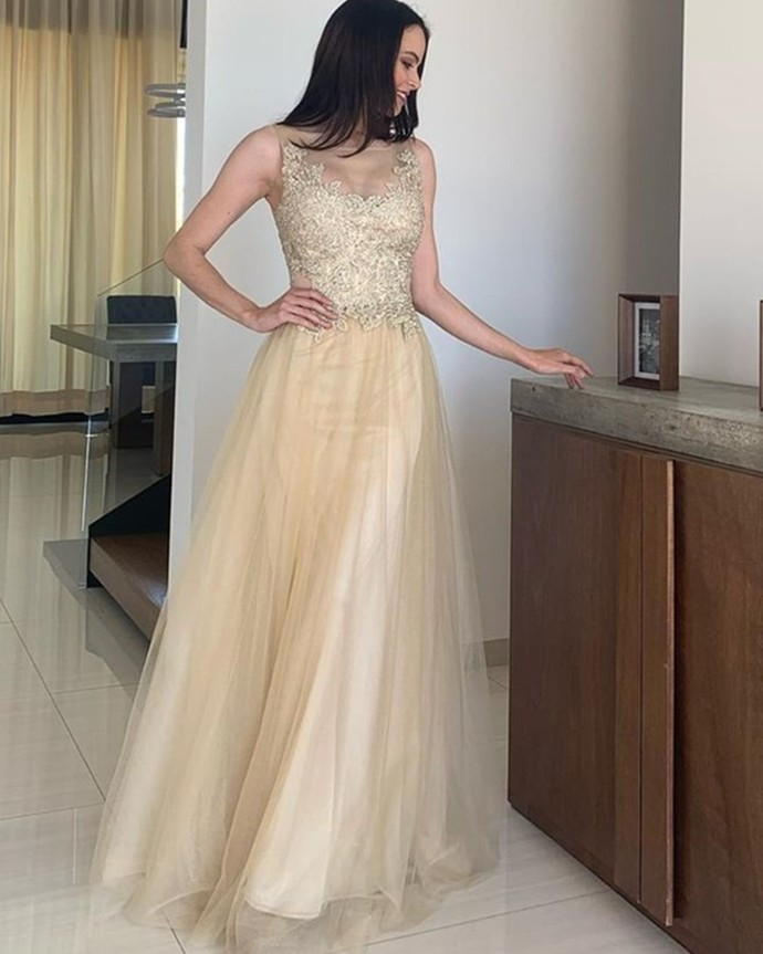 O-Neck Appliques A-Line Prom Dresses,Long Prom Dresses,Cheap Prom Dresses,