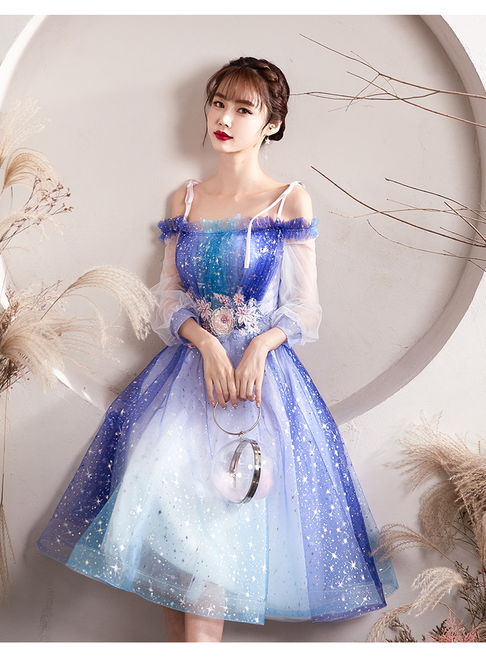 Gradient Tulle Off Shoulder Knee Length Party Dress, Blue Prom Dress Homecoming