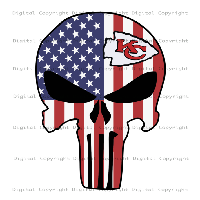 Kansas City American Skull, Sport Svg, American Skull, Kansas City Chiefs Svg,