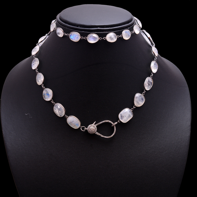 925 Silver Rainbow Moonstone Chain,Pave Diamond Clasps,Moonstone & Pave Diamond