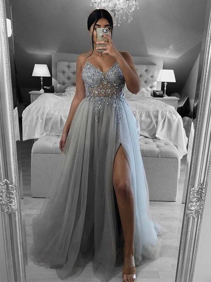 Sliver Grey Tulle V-neckline Sexy Slit Long Prom Dress, Straps Beaded Long
