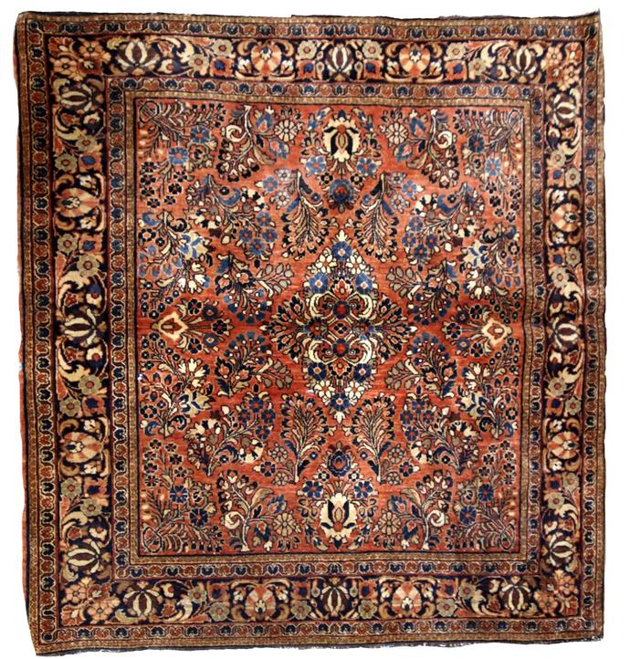 Handmade antique Persian Sarouk square rug 4.1'x 4.1' (125cm x 125cm) 1920s -