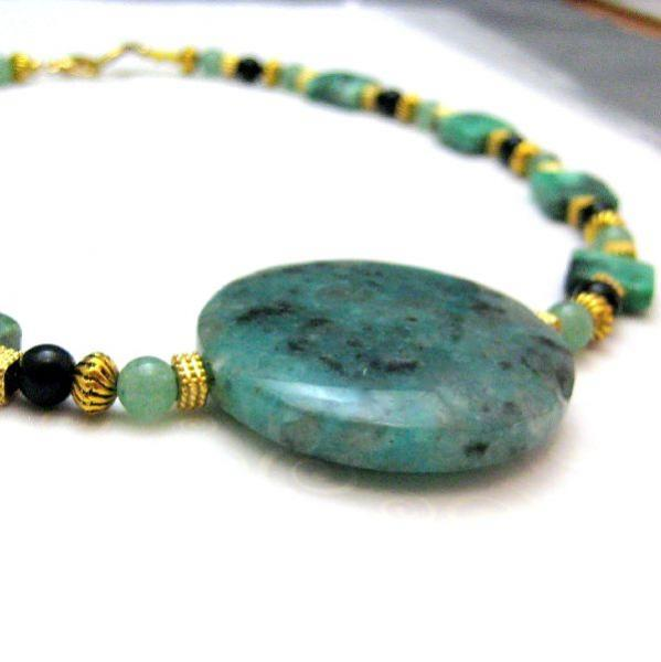 Gold Green Black Handmade Necklace Choker Jasper Onyx Turquoise