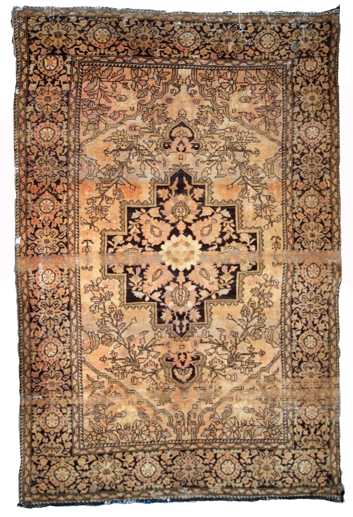 Handmade antique Persian Sarouk Farahan 3.4' x 5.3' (103cm x 161cm) 1880s -
