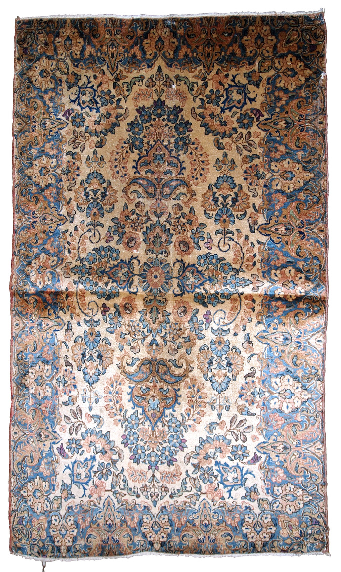 Handmade antique Persian Kerman rug 3.5' x 5.3' (106cm x 161cm) 1920s - 1B749