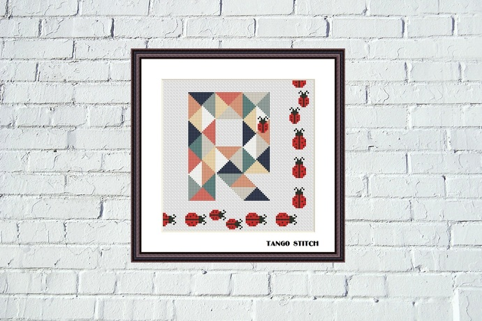 Letter R and cute ladybug family patchwork cross stitch pattern, Tango Stitch