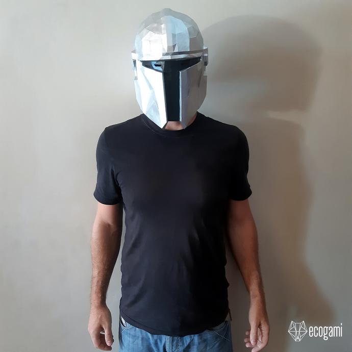 The Mandalorian helmet papercraft face mask, printable Star Wars mask template,