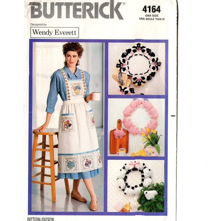 Butterick 4164 Misses Apron, Cow, Pig, Sheep Wreath 80s Vintage Sewing Pattern