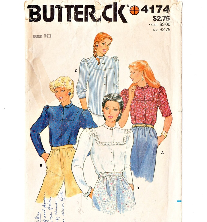 Butterick 4174 Misses Blouse 80s Vintage Sewing Pattern Size 10 Bust 32 1/2