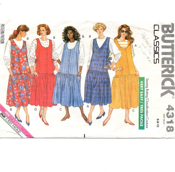Butterick 4318 Misses Maternity Jumper, Top 80s Vintage Sewing Pattern Size 6,