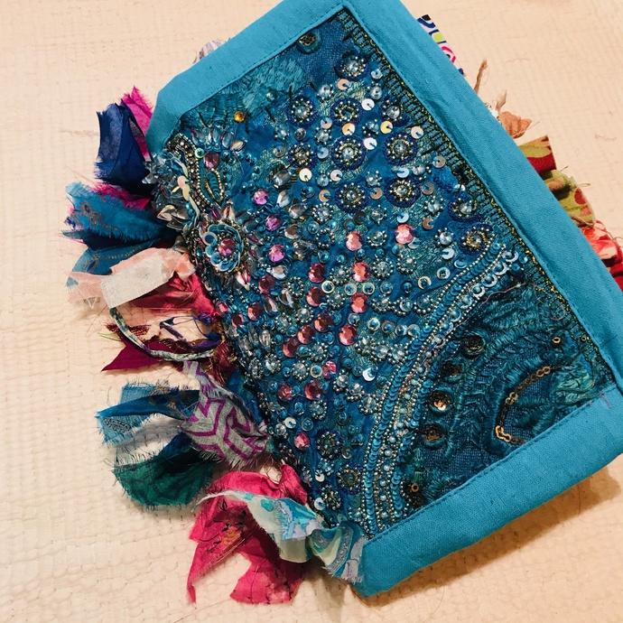 "NIKKI 9"" x 6""  Boho Gypsy Journal Bohemian Journal Art Journal Junk Journal TEAL"