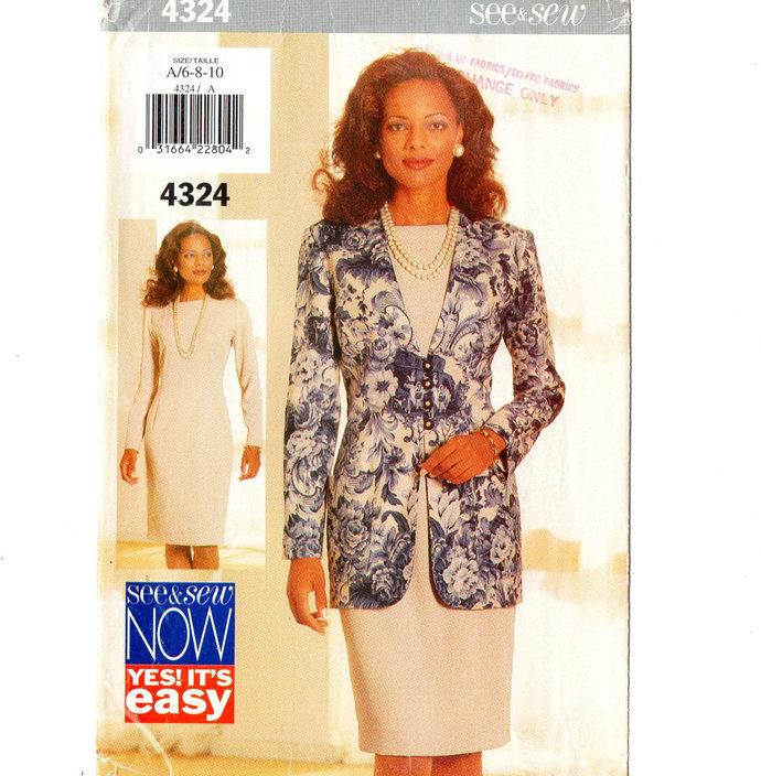 Butterick 4324 Misses Jacket, Dress 90s Vintage Sewing Pattern UNCUT Size 6, 8,