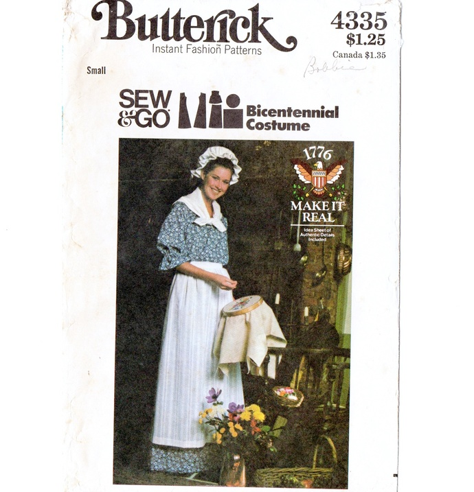 Butterick 4335 Misses Bicentennial Dress, Apron, Hat 70s Vintage Sewing Pattern